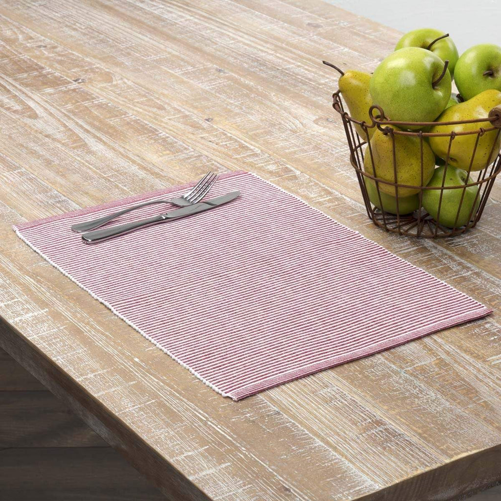 April & Olive Placemat Ashton Red Ribbed Placemat Set of 6 12x18