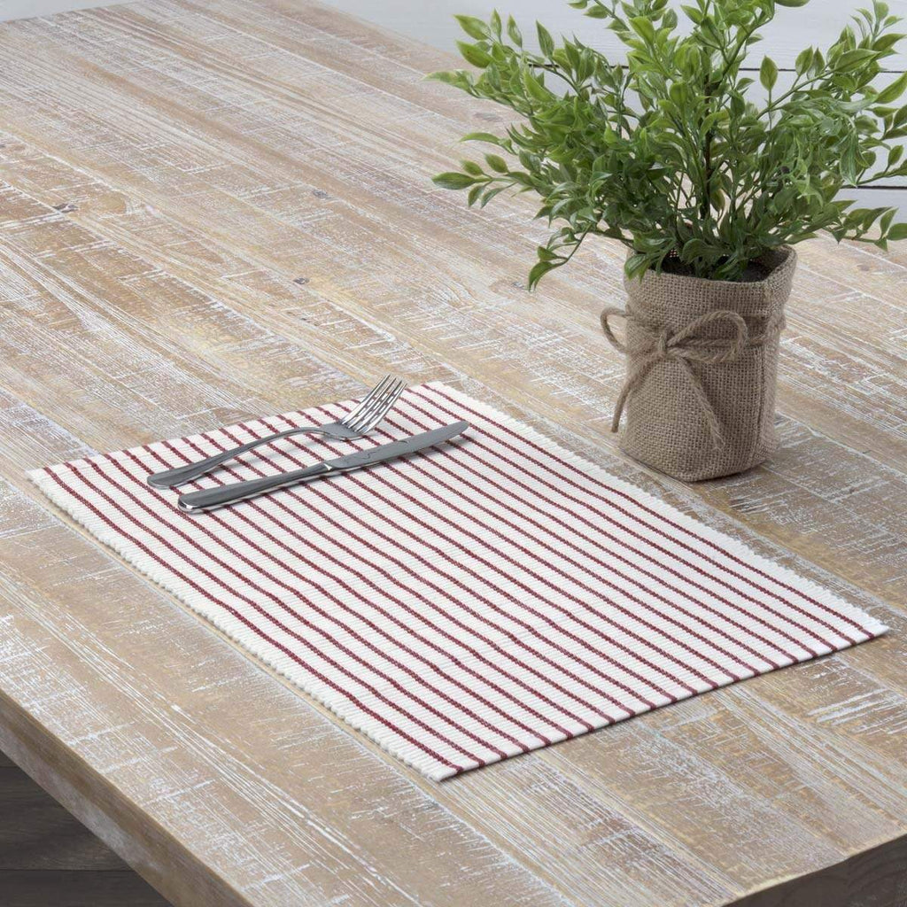 April & Olive Placemat Audrey Red Ribbed Placemat Set of 6 12x18