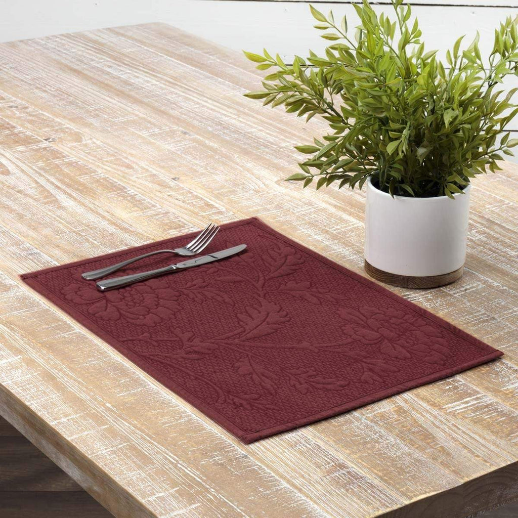 April & Olive Placemat Carly Red Quilted Placemat Set of 6 12x18