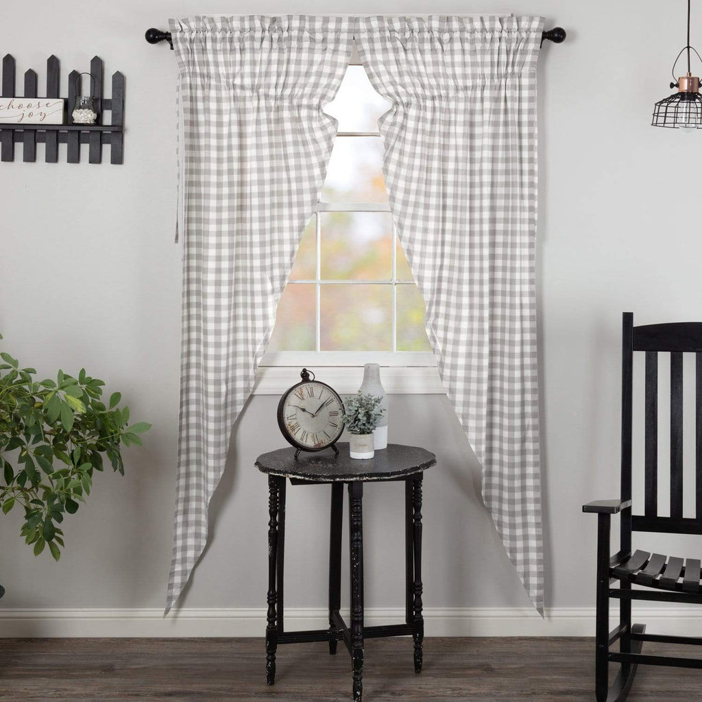 April & Olive Prairie Panel Annie Buffalo Grey Check Prairie Long Panel Set of 2 84x36x18