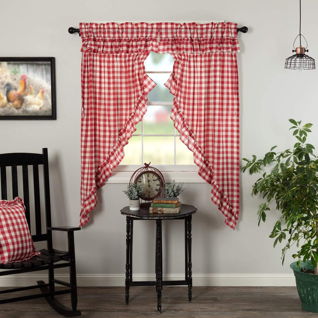 April & Olive Prairie Panel Annie Buffalo Red Check Ruffled Prairie Short Panel Set of 2 63x36x18