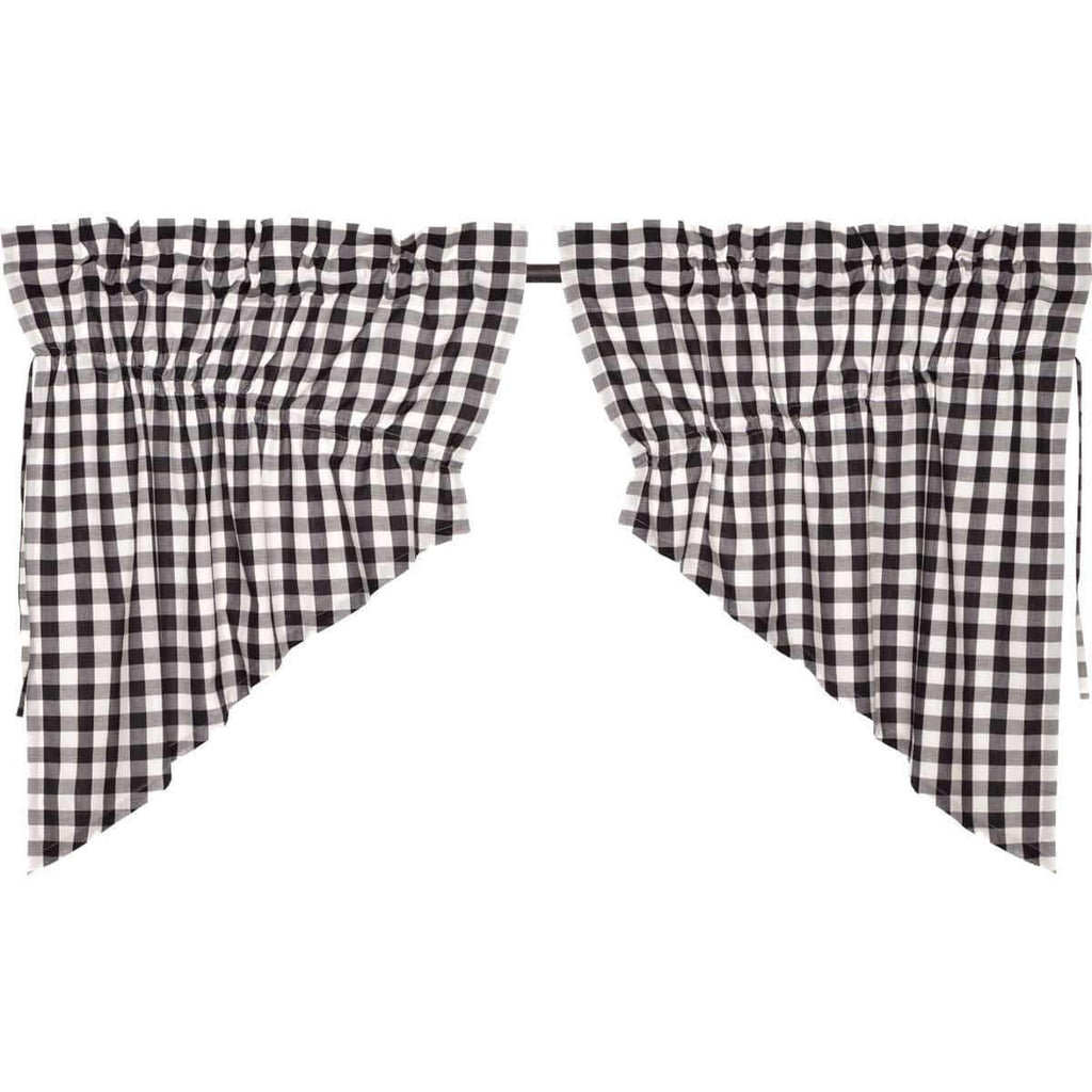 April & Olive Prairie Swag Annie Buffalo Black Check Prairie Swag Set of 2 36x36x18
