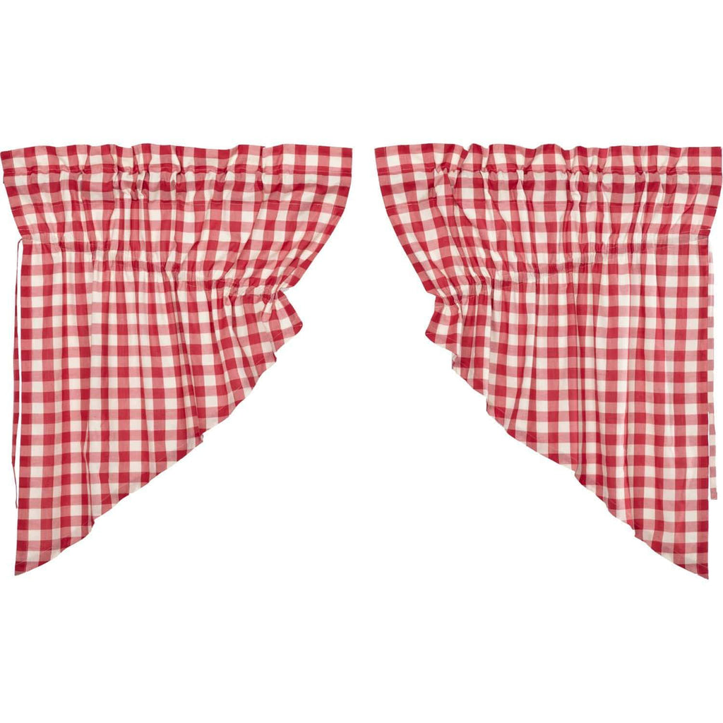 April & Olive Prairie Swag Annie Buffalo Red Check Prairie Swag Set of 2 36x36x18