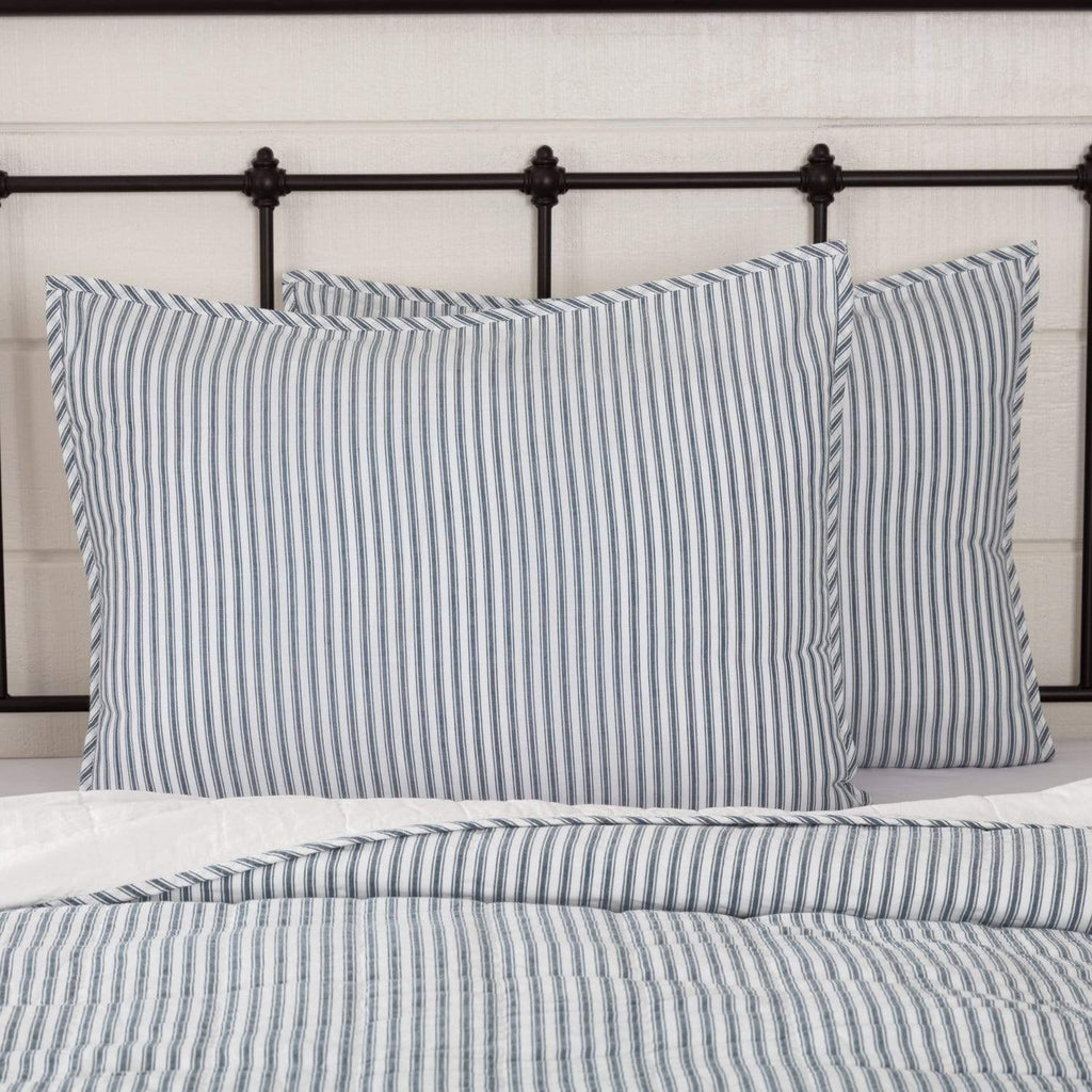 April & Olive Sham Sawyer Mill Blue Ticking Stripe Standard Sham 21x27
