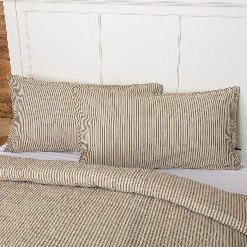 April & Olive Sham Sawyer Mill Charcoal Ticking Stripe King Sham 21x37
