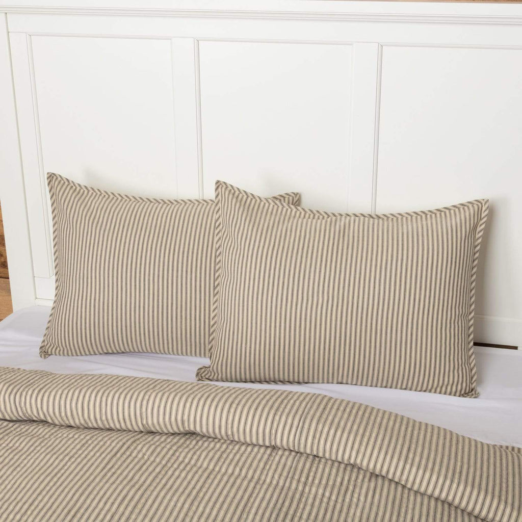 April & Olive Sham Sawyer Mill Charcoal Ticking Stripe Standard Sham 21x27