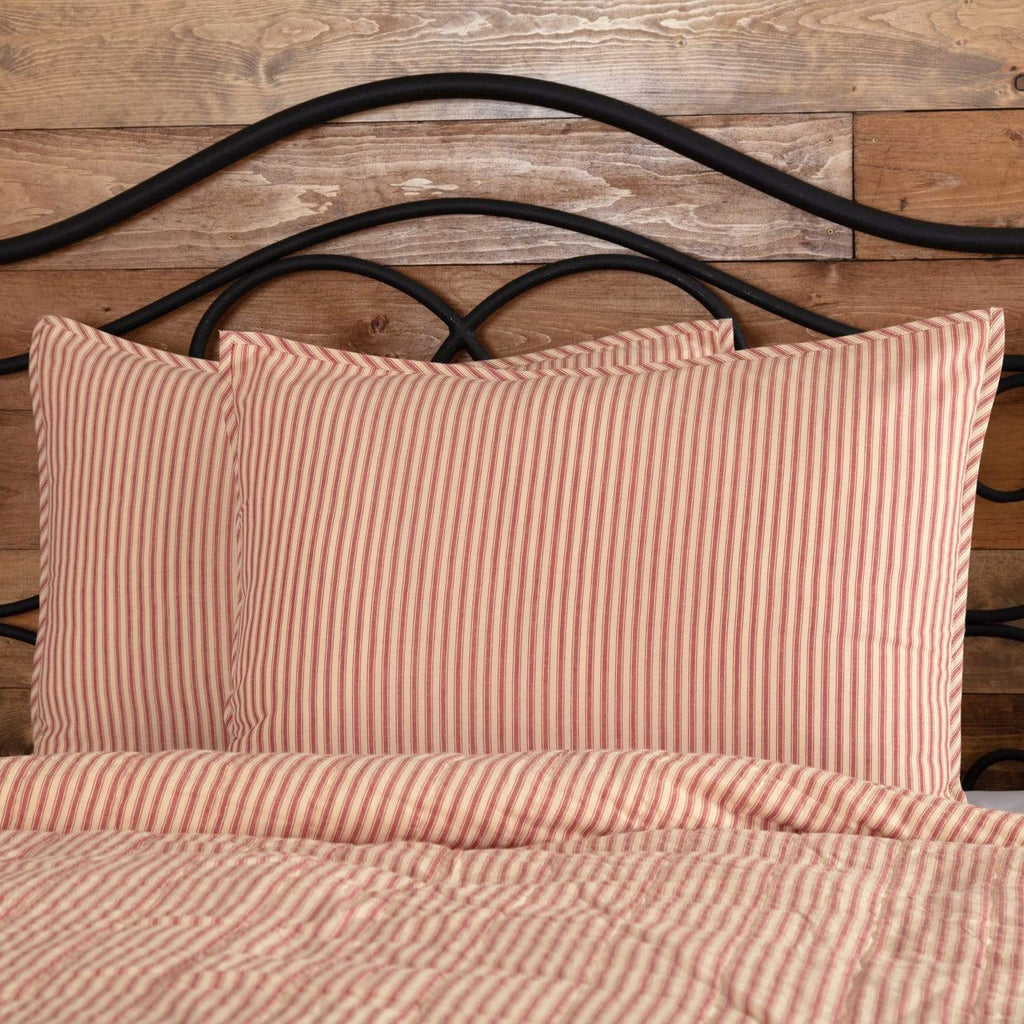 April & Olive Sham Sawyer Mill Red Ticking Stripe Standard Sham 21x27