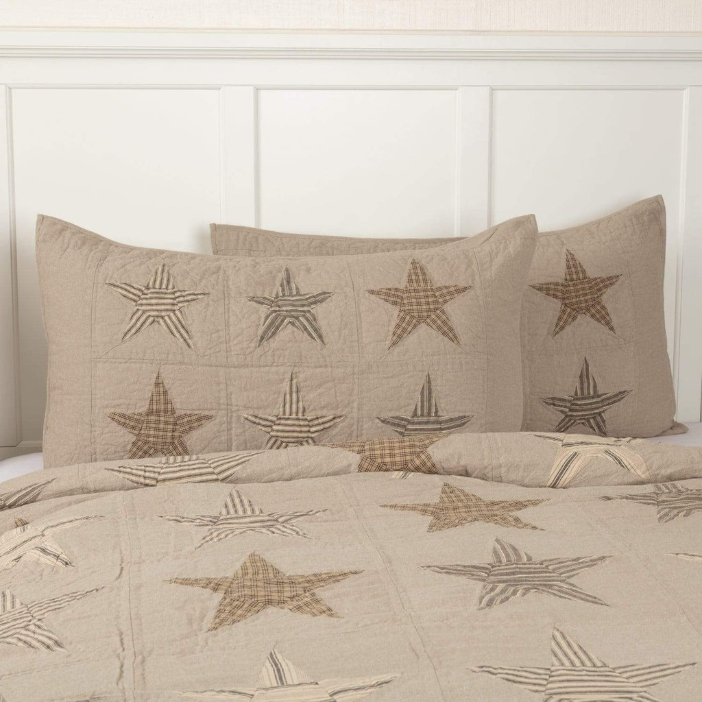 April & Olive Sham Sawyer Mill Star Charcoal King Sham 21x37