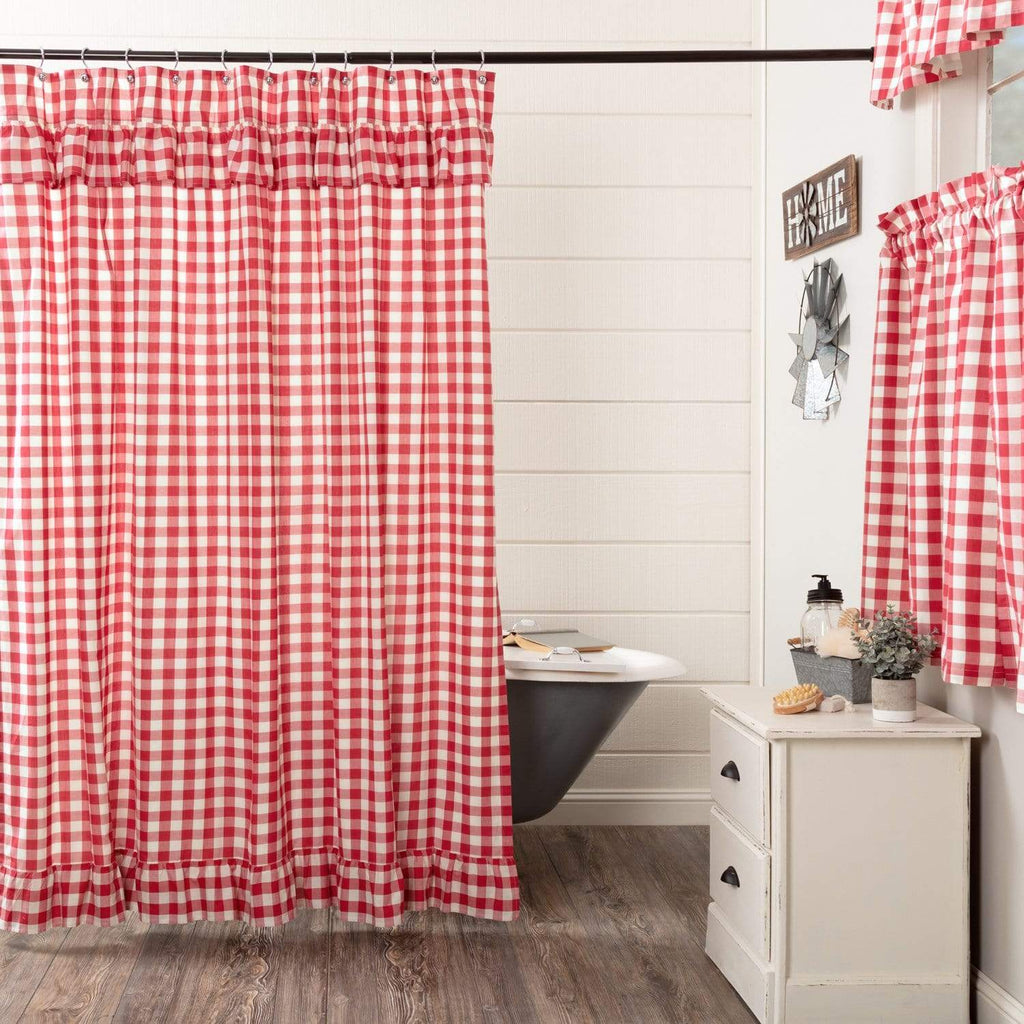 April & Olive Shower Curtain Annie Buffalo Red Check Ruffled Shower Curtain 72x72