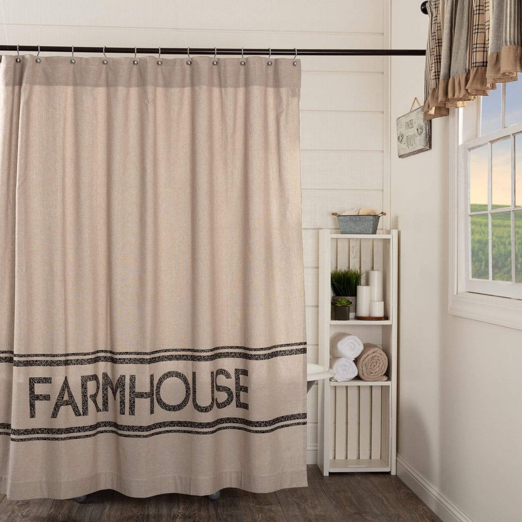 April & Olive Shower Curtain Sawyer Mill Charcoal Farmhouse Shower Curtain 72x72