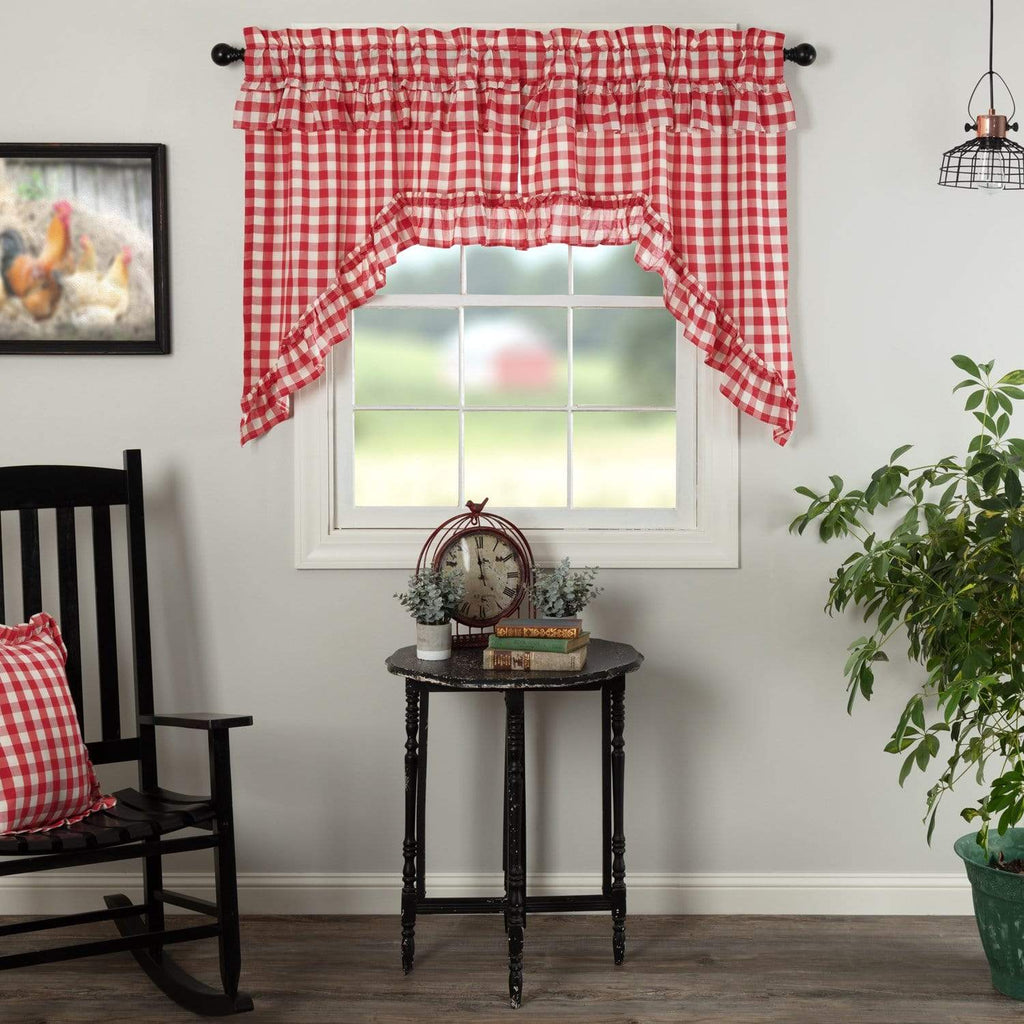 April & Olive Swag Annie Buffalo Red Check Ruffled Swag Set of 2 36x36x16