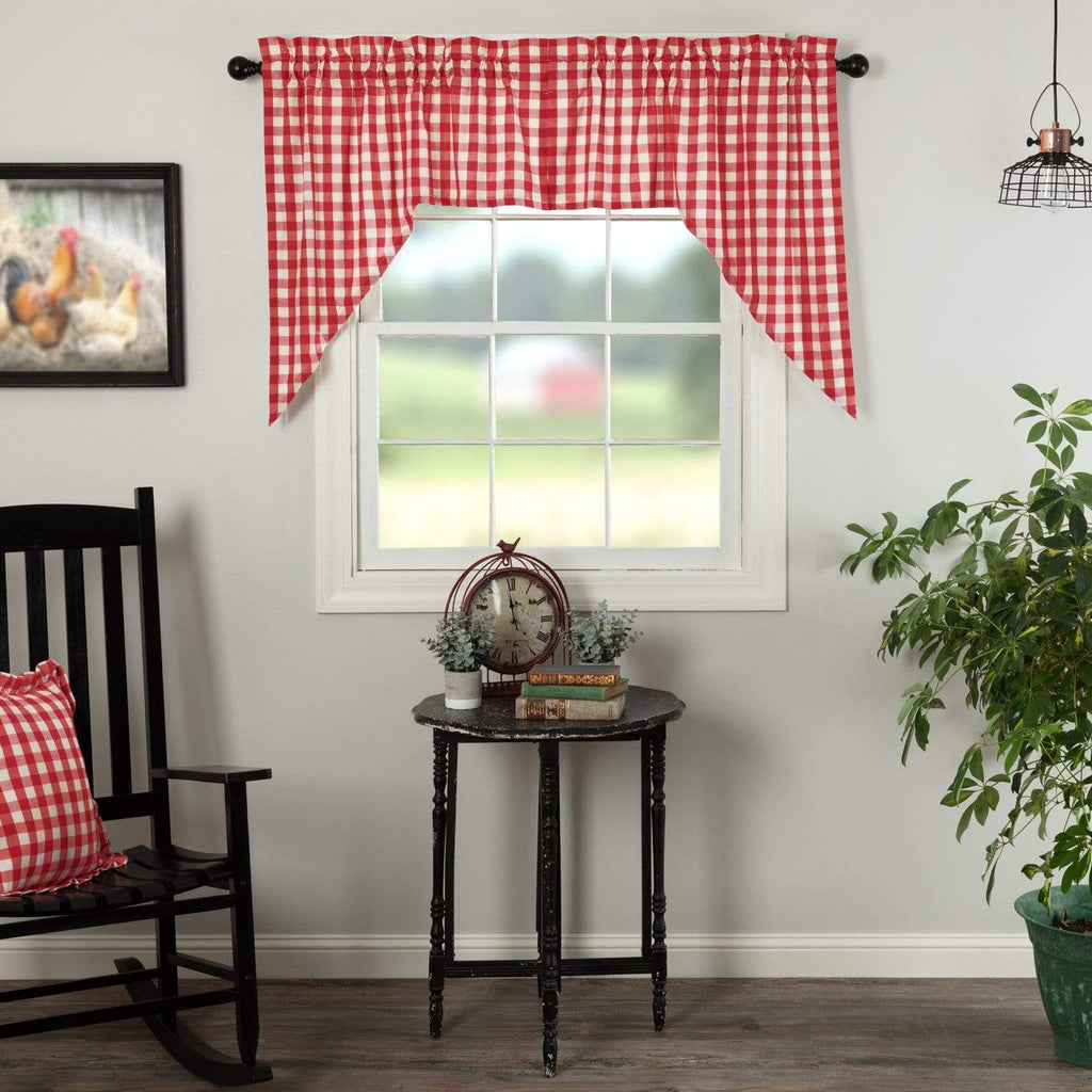 April & Olive Swag Annie Buffalo Red Check Swag Set of 2 36x36x16