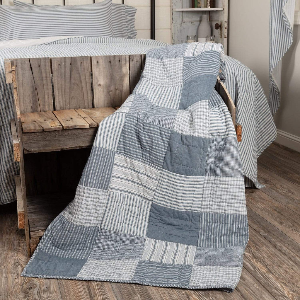 April & Olive Throw Sawyer Mill Blue Block Quilted Throw 60x50