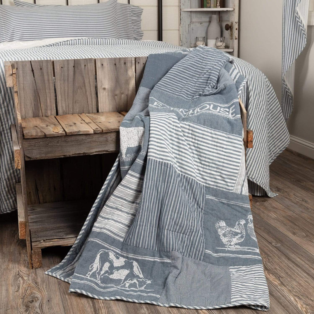 April & Olive Throw Sawyer Mill Blue Farm Animal Quilted Throw 60x50