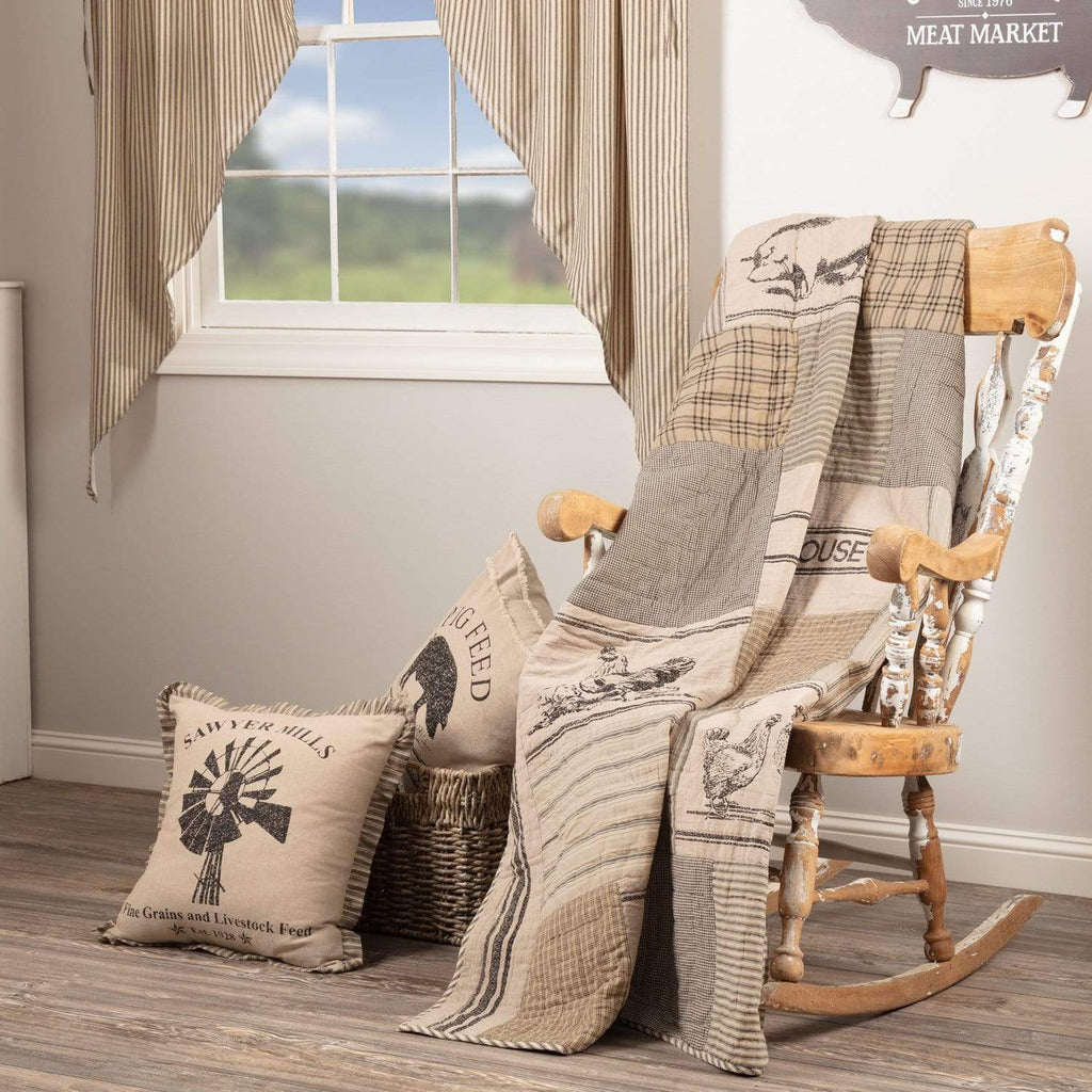 April & Olive Throw Sawyer Mill Charcoal Farm Animal Quilted Throw 60x50