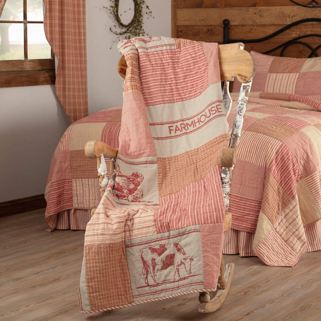 April & Olive Throw Sawyer Mill Red Farm Animal Quilted Throw 60x50