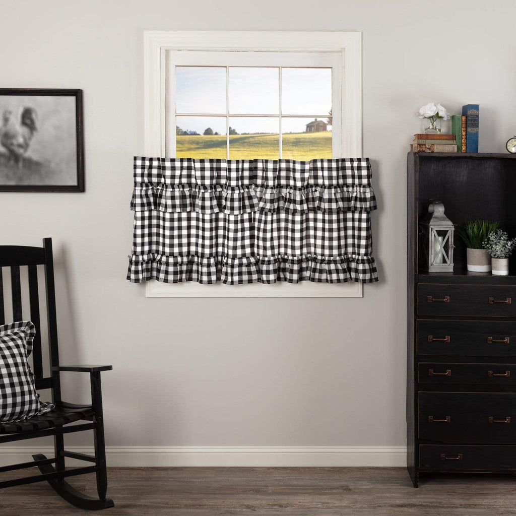 April & Olive Tier Annie Buffalo Black Check Ruffled Tier Set of 2 L24xW36