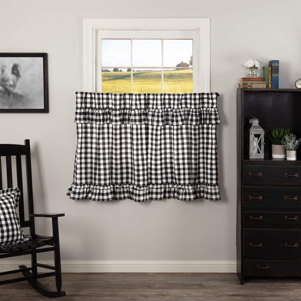 April & Olive Tier Annie Buffalo Black Check Ruffled Tier Set of 2 L36xW36