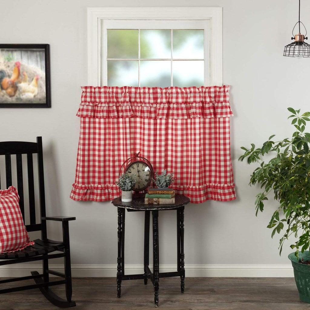April & Olive Tier Annie Buffalo Red Check Ruffled Tier Set of 2 L36xW36