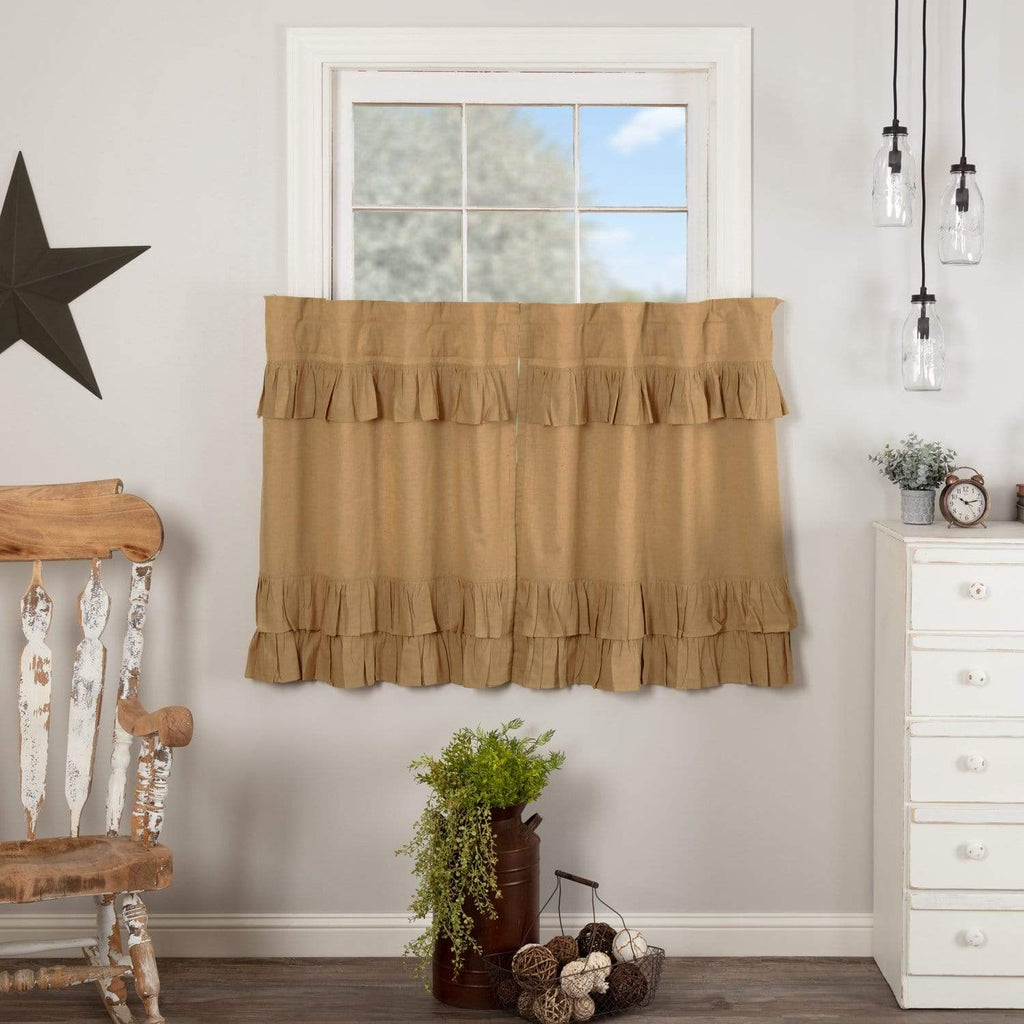 April & Olive Tier Simple Life Flax Khaki Ruffled Tier Set of 2 L36xW36