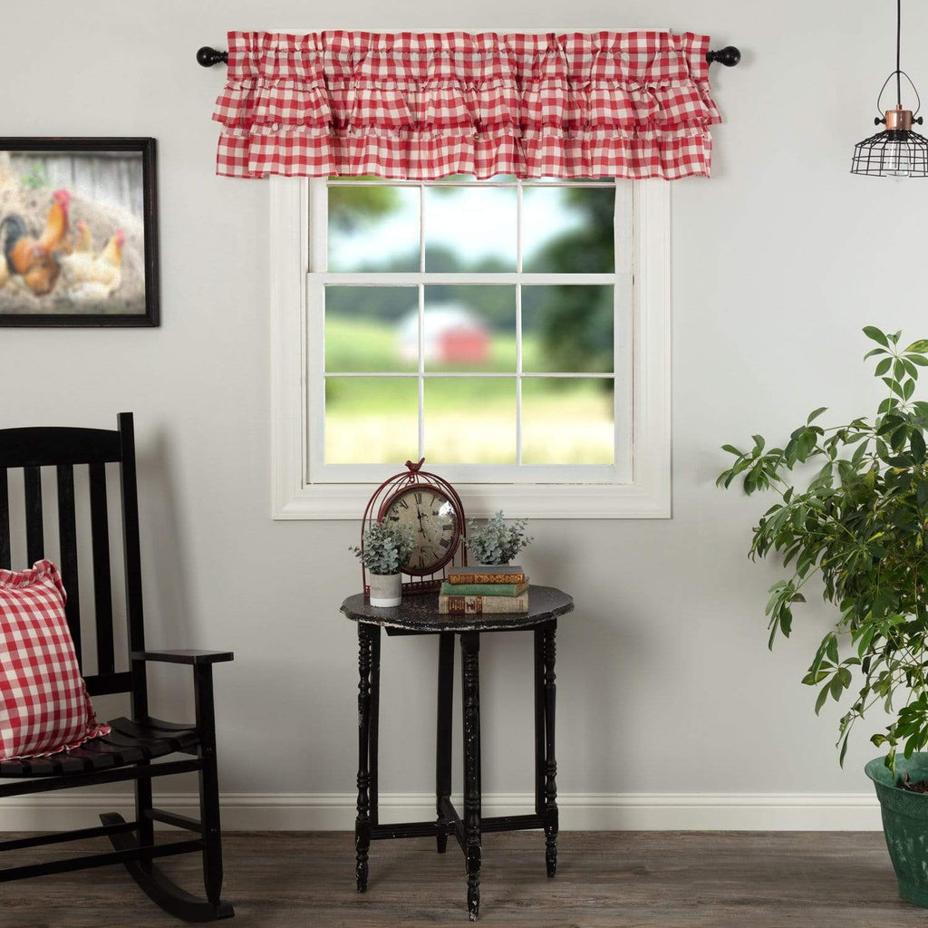 April & Olive Valance Annie Buffalo Red Check Ruffled Valance 16x72