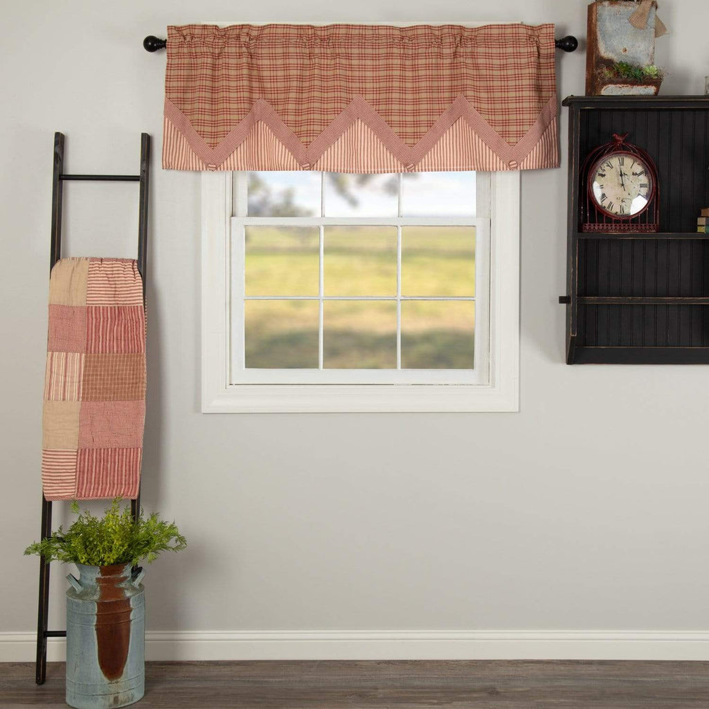 April & Olive Valance Sawyer Mill Red Valance Layered 20x60