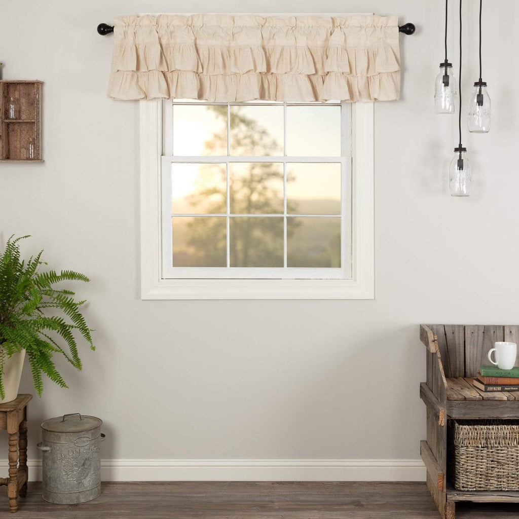 April & Olive Valance Simple Life Flax Natural Ruffled Valance 16x72