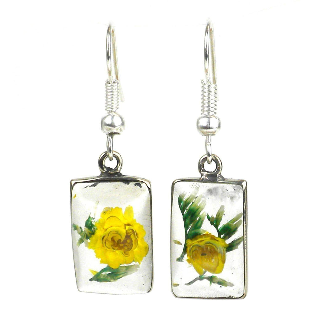 Artisana Artisana Nahua Flower Rectangular Earrings - Artisana