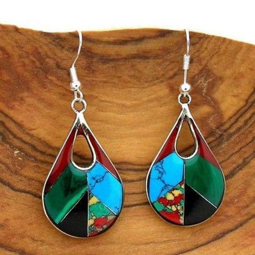 Artisana Artisana Open Alpaca Silver Teardrop Diagonal Mosaic Stone Earrings - Artisana