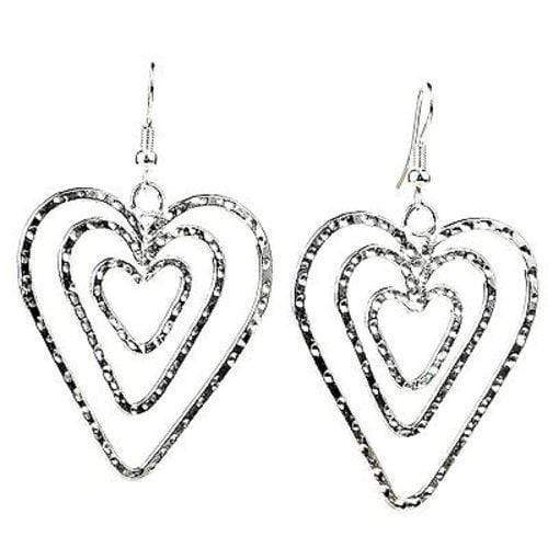 Artisana Artisana Triple Heart Silver Overlay Earrings - Artisana