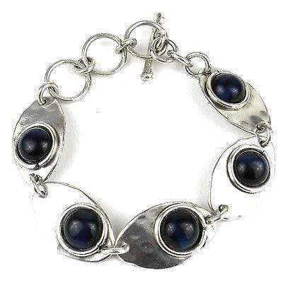 Brass Images (C) Brass Images Blue Tiger Eye Link Silverplated Bracelet - Brass Images (C)