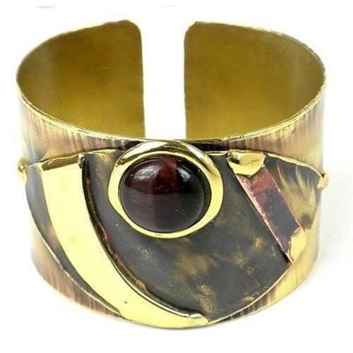 Brass Images (C) Brass Images Red Tiger Eye Reflections Copper and Brass Cuff - Brass Images (C)