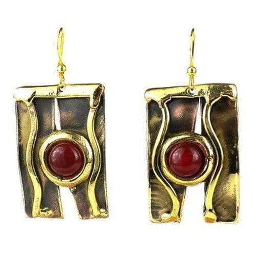 Brass Images (E) Brass Images Carnelian Mountain Brass Earrings - Brass Images (E)