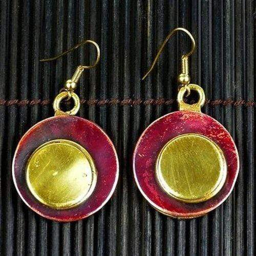 Brass Images (E) Brass Images Circle Squared Earrings - Brass Images (E)