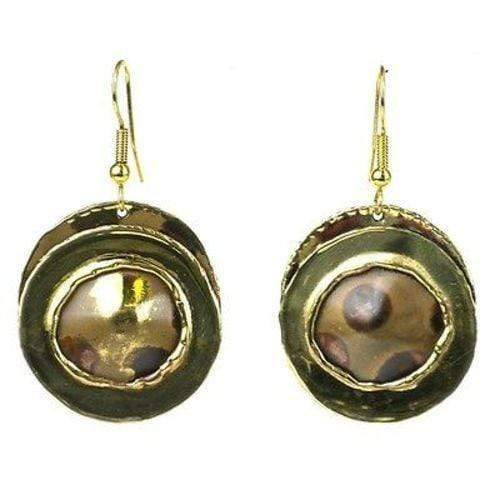 Brass Images (E) Brass Images Encircled Spots Brass Earrings - Brass Images (E)