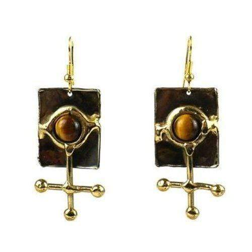 Brass Images (E) Brass Images Gold Tiger Eye Ball and Jack Brass Earrings - Brass Images (E)