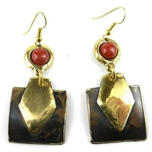 Brass Images (E) Brass Images Red Jasper Brass Earrings - Brass Images (E)