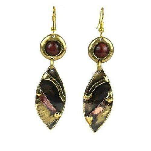 Brass Images (E) Brass Images Red Tiger Eye Reflections Copper and Brass Earrings - Brass Images (E)