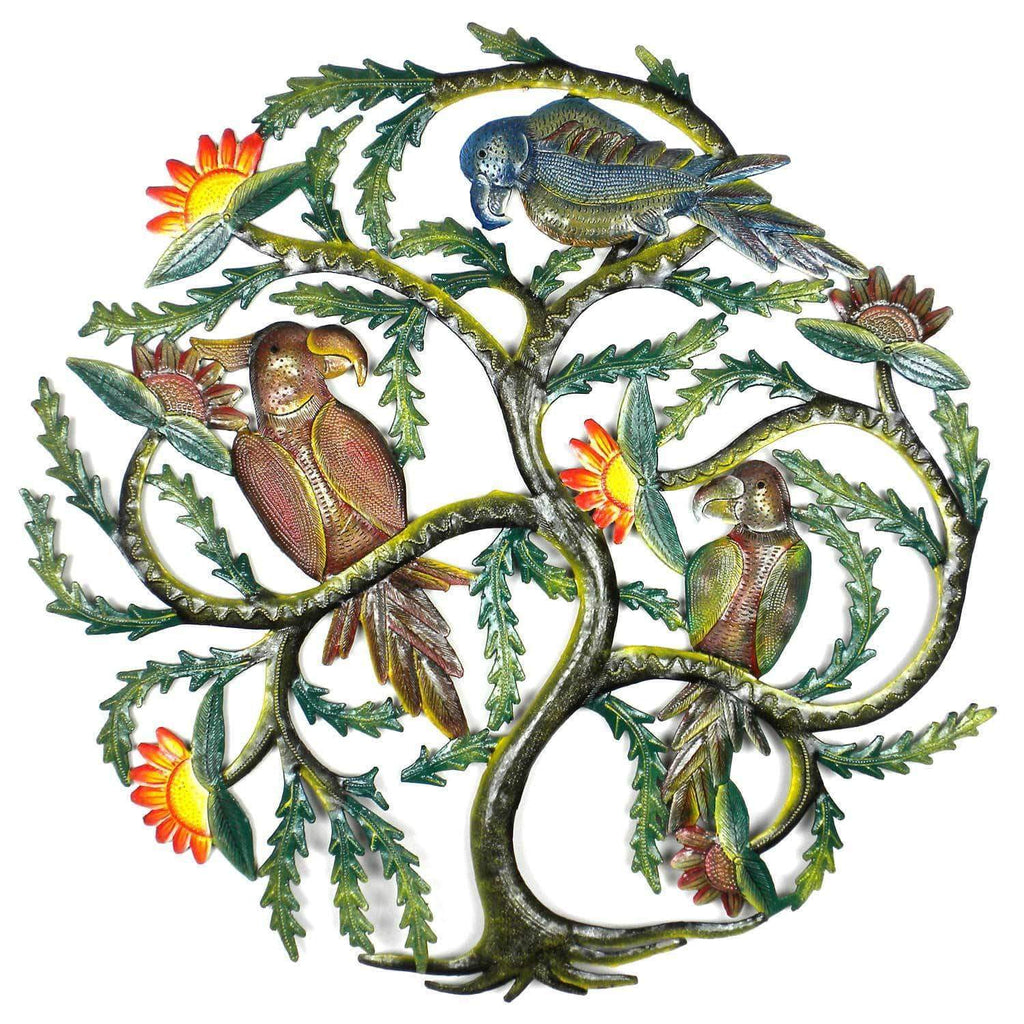 Caribbean Craft Metal Wall Art 24 inch Painted Tree with Parrots - Caribbean Craft