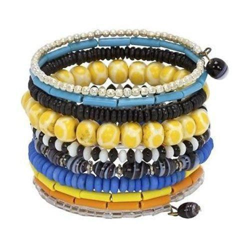 CFM Asia Collection Ten Turn Bead and Bone Bracelet - Multicolored - CFM