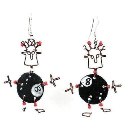Creative Alternatives The Takataka Collection Dancing Girl Eight Ball Earrings - Creative Alternatives