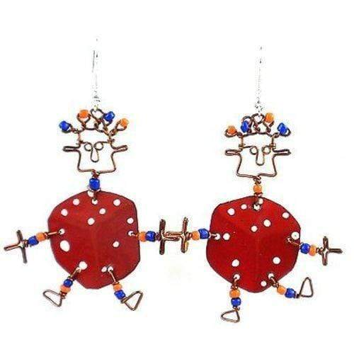 Creative Alternatives The Takataka Collection Dancing Girl Lucky Dice Earrings - Creative Alternatives