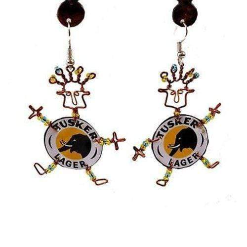 Creative Alternatives The Takataka Collection Recycled Tusker Bottle Cap Dancing Girl Earrings - Creative Alternatives