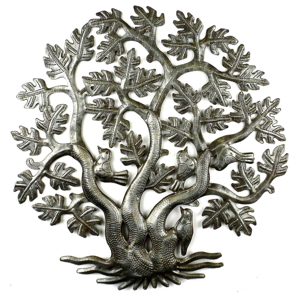 Croix des Bouquets Metal Wall Art 14 inch 3 Trunk Tree of Life Wall Art - Croix des Bouquets