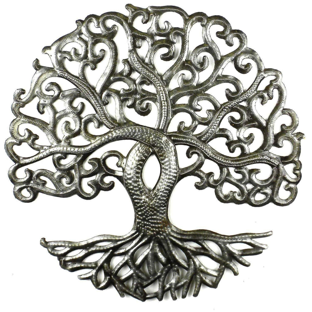 Croix des Bouquets Metal Wall Art 14 inch Tree of Life Curly - Croix des Bouquets