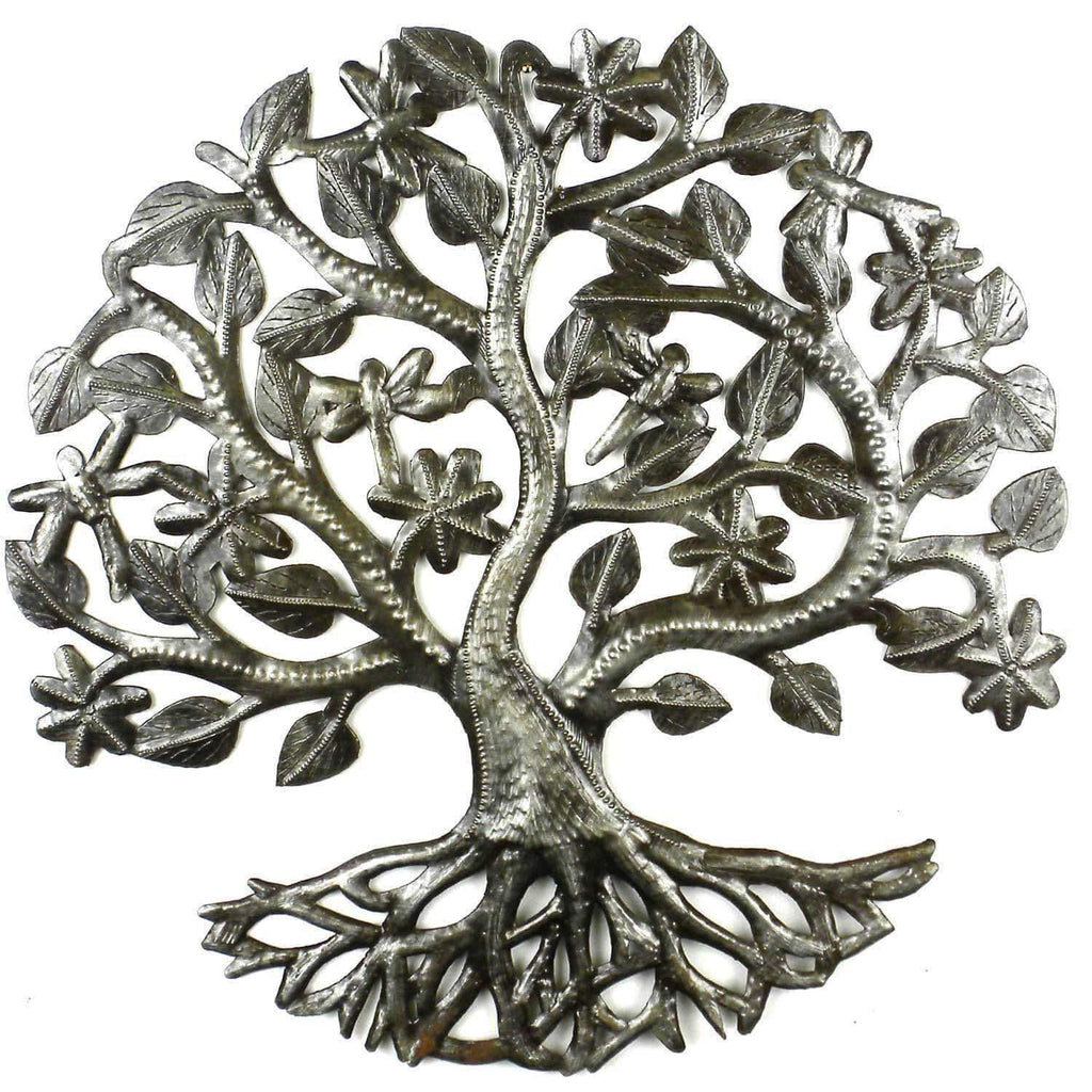 Croix des Bouquets Metal Wall Art 14 inch Tree of Life Dragonfly Metal Wall Art - Croix des Bouquets