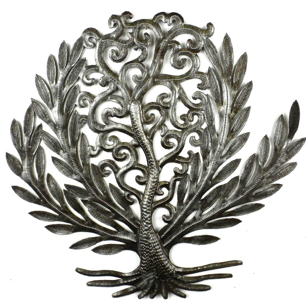 Croix des Bouquets Metal Wall Art 14 inch Tree of Life Laurel Leaf - Croix des Bouquets