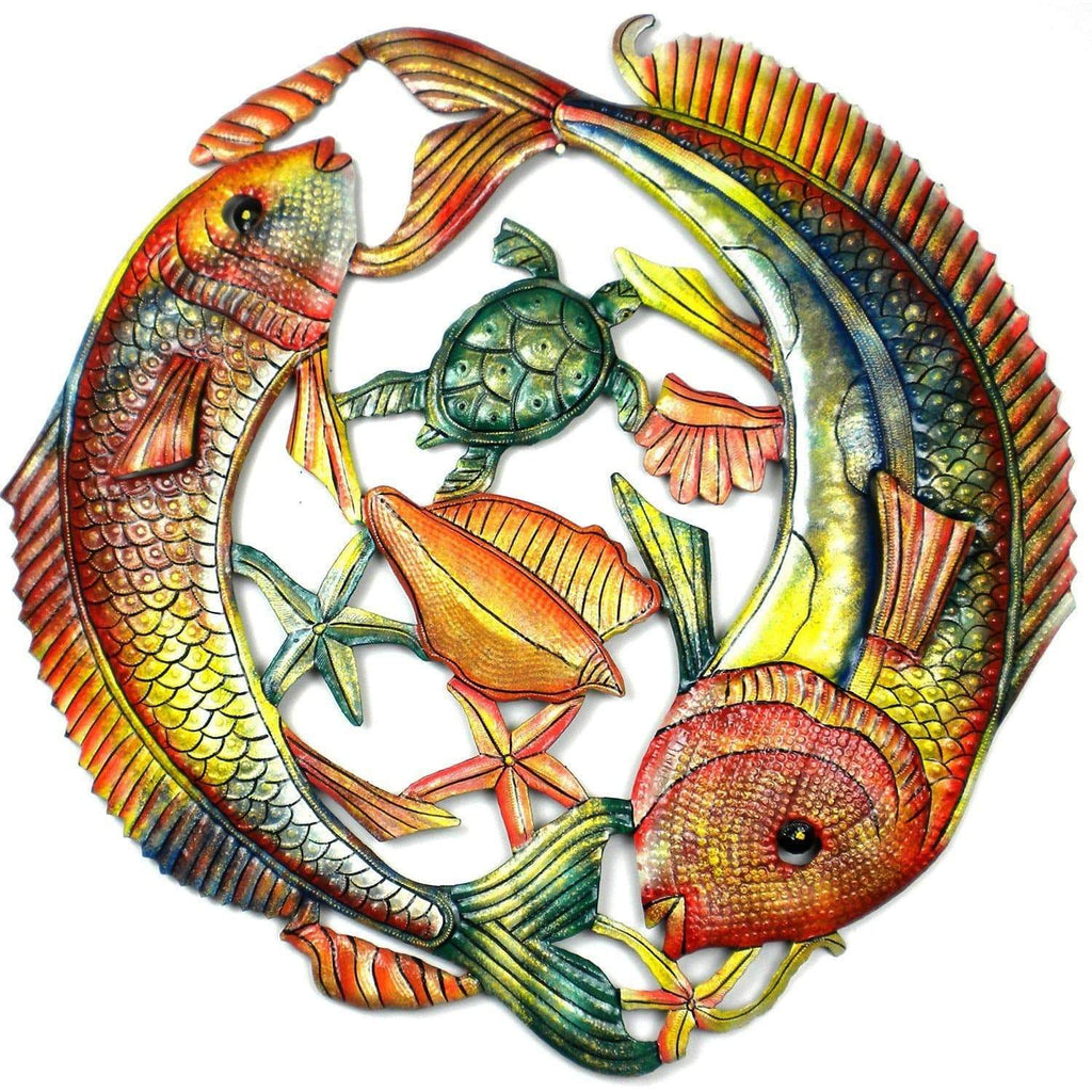 Croix des Bouquets Metal Wall Art 24 inch Painted Two Fish Jumping - Croix des Bouquets