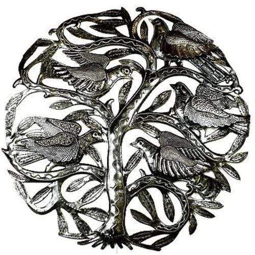 Croix des Bouquets Metal Wall Art 24-inch Tree of Life with 3-D Birds Metal Art - Croix des Bouquets