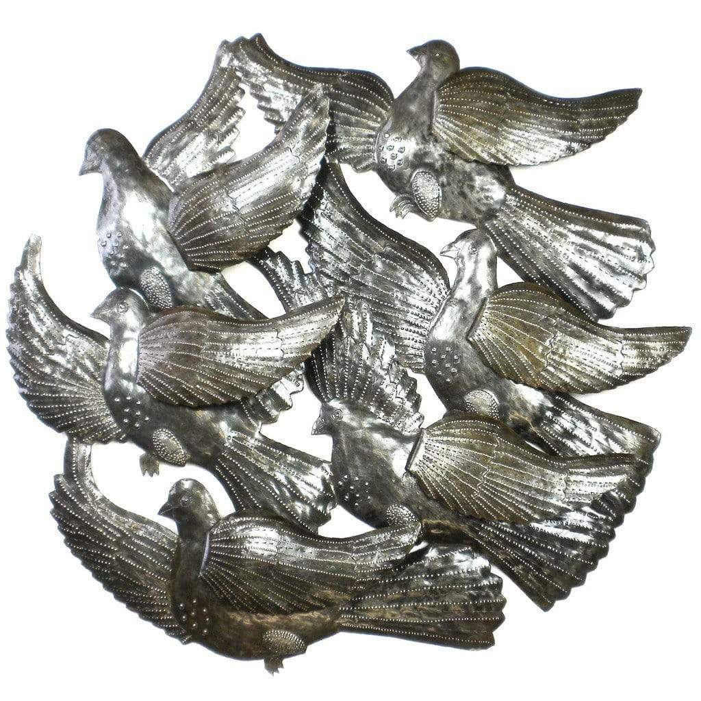 Croix des Bouquets Metal Wall Art Flock of Bird with 3D Wings Wall Art - Croix des Bouquets